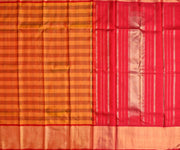 Mustard Orange Checked  Kanchi Silk Saree With Red Blouse And Gold Long Border