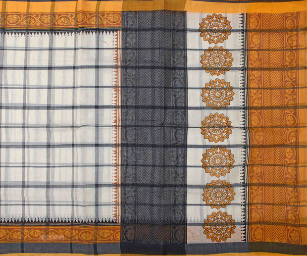 Off White Checked Bengal Cotton Saree With Mustard Blouse