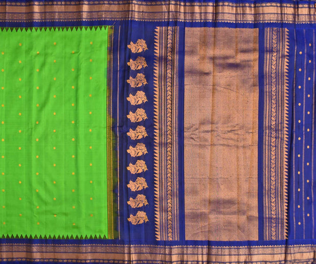 Parrot Green Gadwal Silk Saree With Ink Blue Temple Grand Border