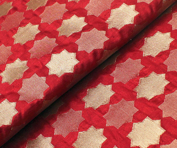 Red Banarasi Silk Fabric With Star Zari Highlights