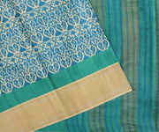Off White Paisley Printed Tussar Saree With Spruce Blue Blouse
