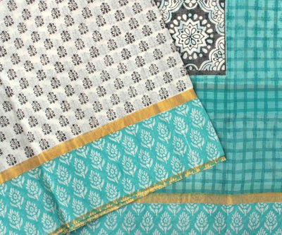 Off White Printed Bengal Cotton Saree With Checked Pallu With  Turquoise Blouse