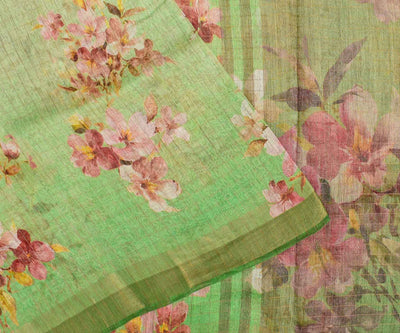 Mint Green Checked Floral Linen Saree With Zari Border