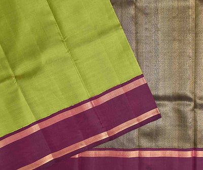 Olive Green Kanchi Silk Saree With Deep Magenta Border