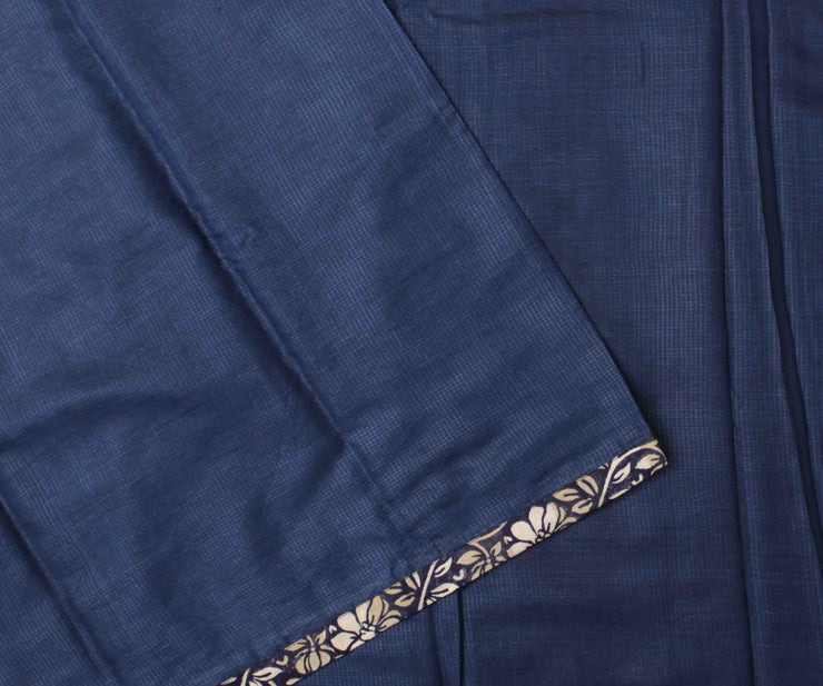 Indigo Blue Tussar Saree With Black Floral Printed Blouse