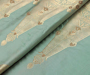 Aqua Frost Banarsi Silk Fabric With Zari Highlights