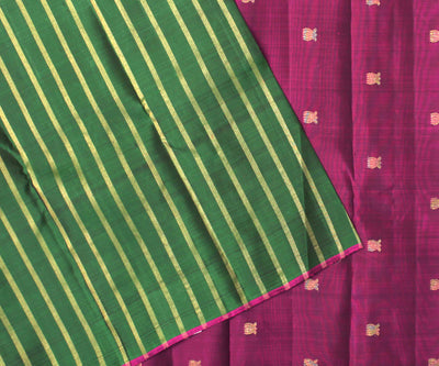 Forest Green Striped Kanchi Silk Saree With  Purple Blouse