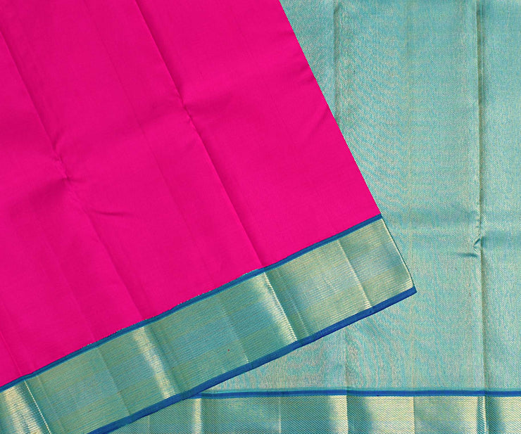 Rose Kanchi Silk Saree With Arctic Blue Blouse