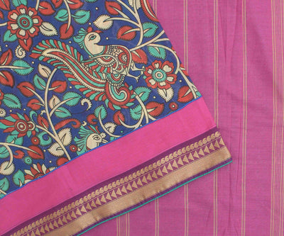 Orchid  Cotton Saree With Kalamkari Patch And Teal Blouse