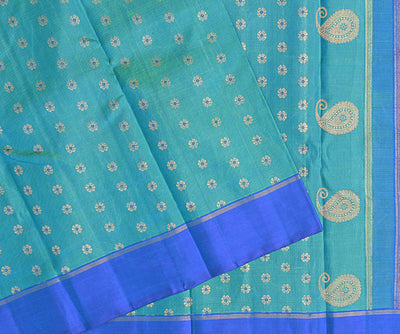 Ocean Blue  Floral Double Shaded Kanchi Silk Saree With Blue  Border