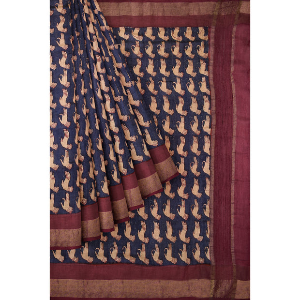 Navy Blue Tussar Saree