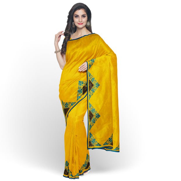 Mustard Kanchi Silk Saree Crafted with Mustard Blouse
