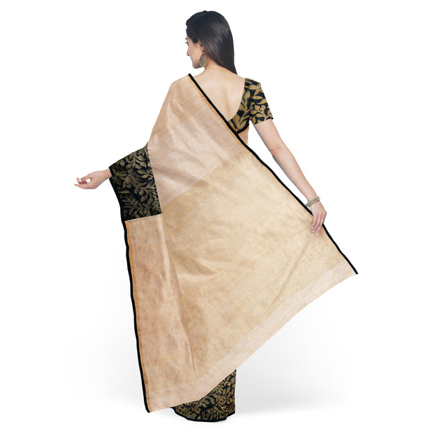 Half White Tussar And Black Soft Silk Half And Half Saree With Black Floral Soft Silk Blouse