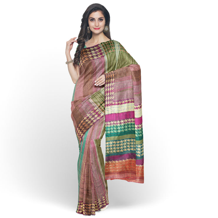 Multi Color Printed Tussar Saree With Sea Green Blouse