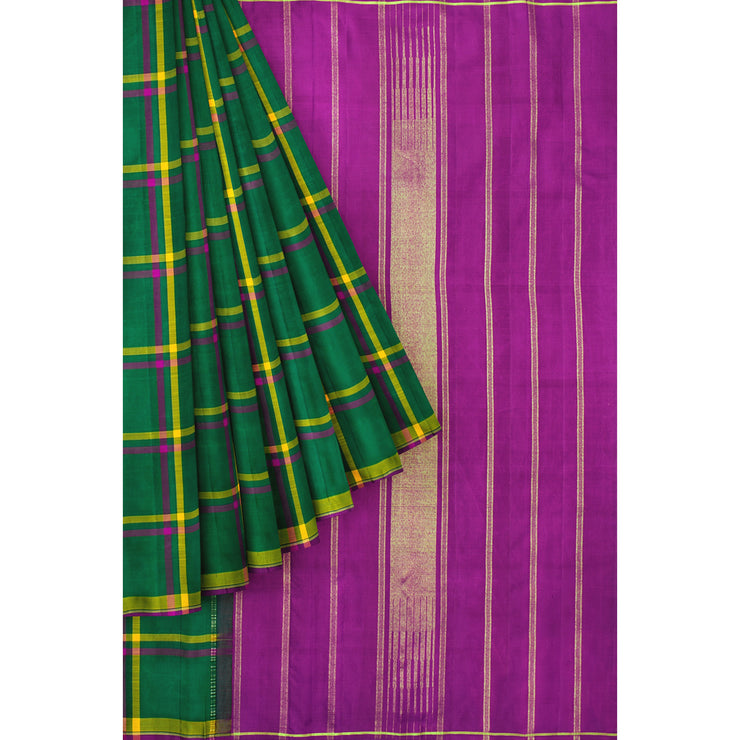 Forest Green Checked Kanchi Silk Saree