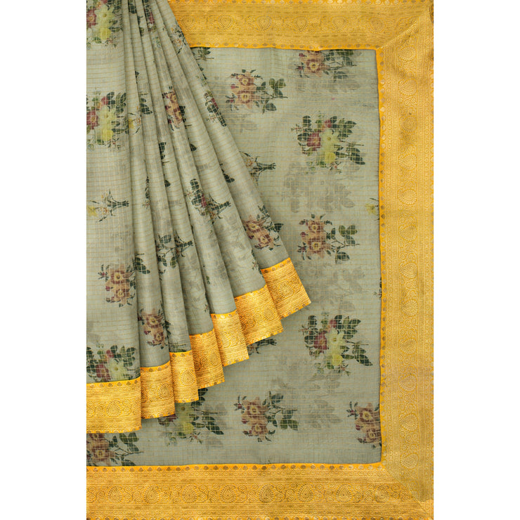 Half White Checked Organza Silk Saree With Golden Mustard Border