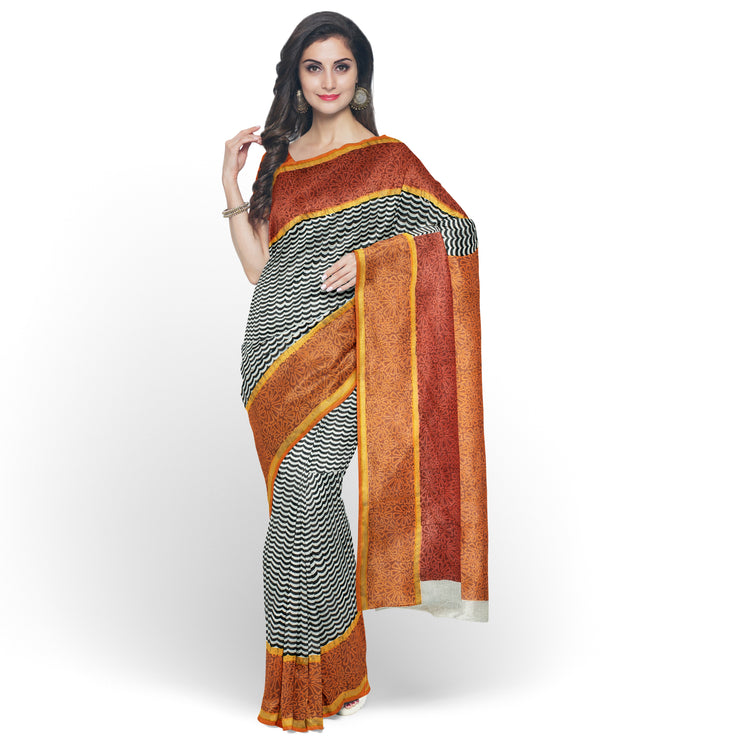 White Printed Bengal Cotton Saree