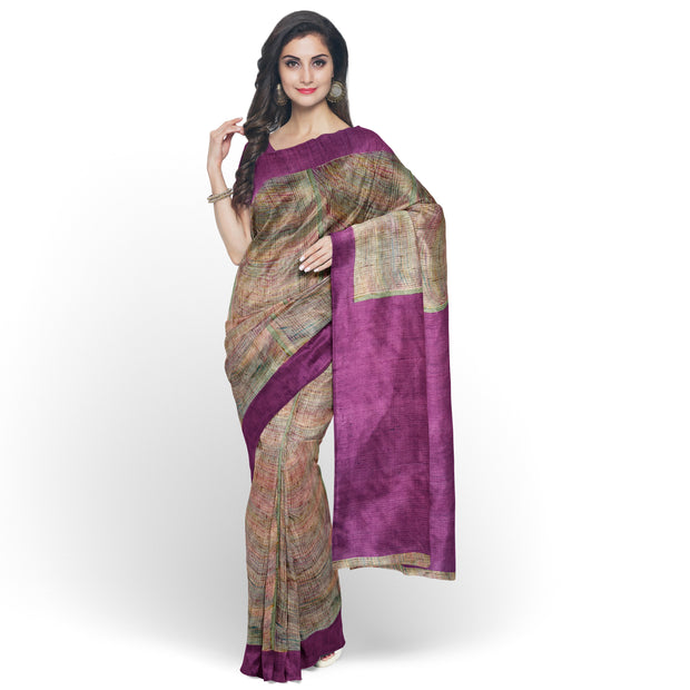 Multi Color Tussar Saree