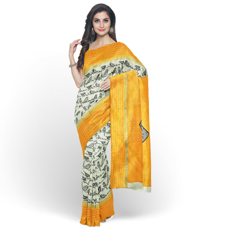 Half White Printed Bengal Cotton Saree