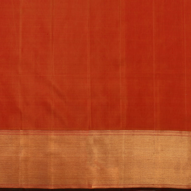 Light Grey Checked Organza Silk Saree With Orange Blouse