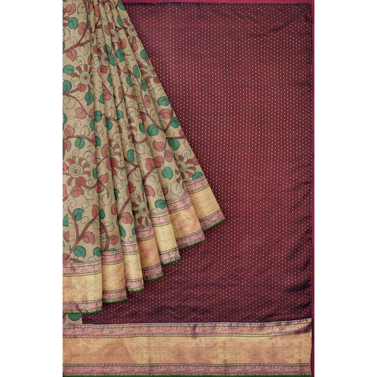 Light Brown Floral Printed Tussar Silk Saree With Maroon Kanchi Silk Blouse