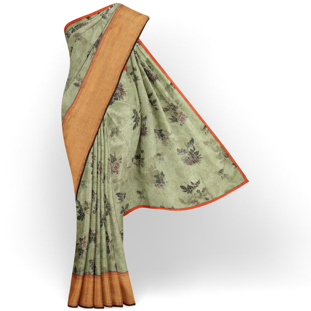 Apple Green Checked Organza Silk Saree With Orange Blouse