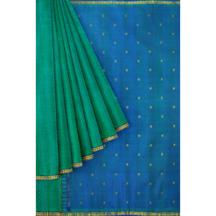 Turquoise Blue Checked Kanchi Silk Saree