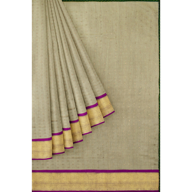 Half White Matka Silk Saree With Purple Kanchi Silk Border Bottle Green Blouse