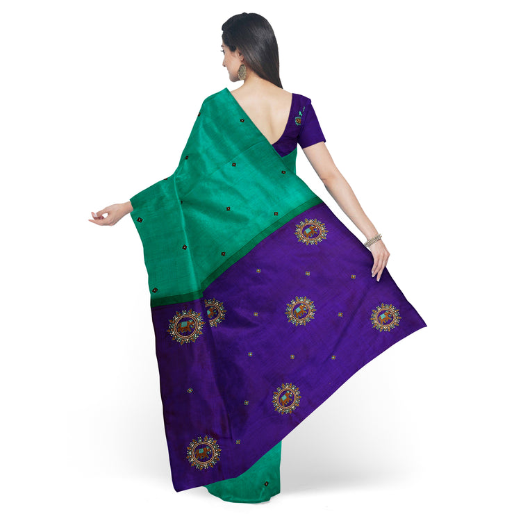 Turquoise Blue Kanchi Silk Saree with Butta and Ms Blue Pallu Crafted with Zardosi Elephant Embroidery