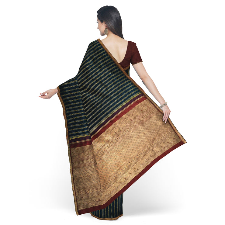 Black Kanchi Silk Saree