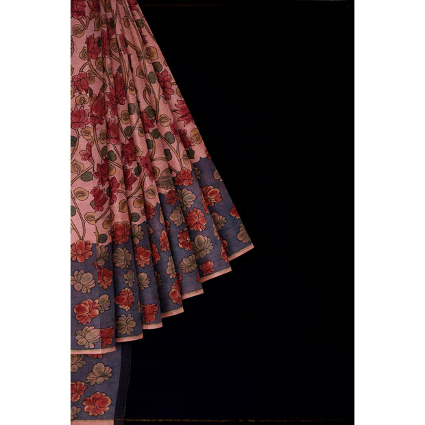 Pen kalamkari In Onion Pink Kanchi Silk Saree