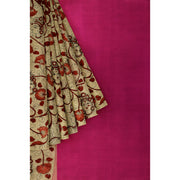 Pen Kalamkari in Tussar Color kanchi silk saree