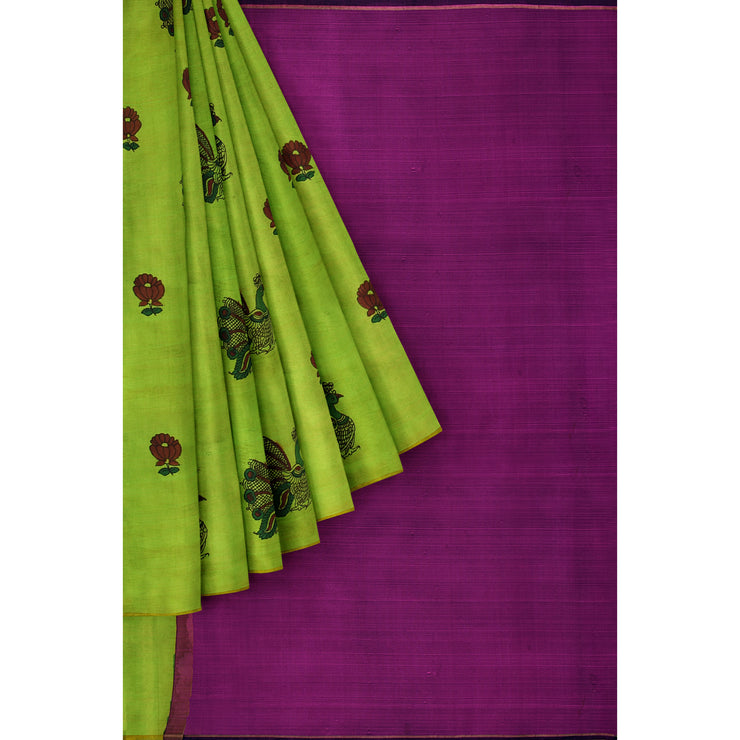 Hand Painted Green kanchi Silk Saree