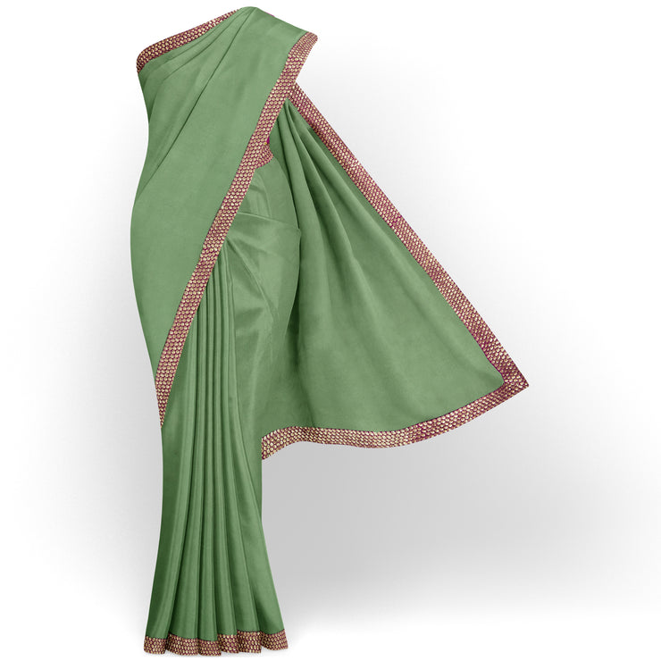 Apple Green Organza Silk Saree With Pink Embroidered Border And Pink Kanchi Silk Blouse