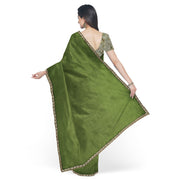 Olive Green Organza Silk Saree With Floral Printed Tissue Blouse