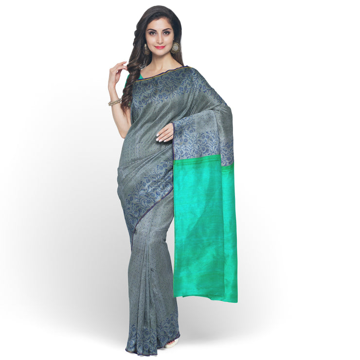 Grey Printed Kanchi Silk Saree