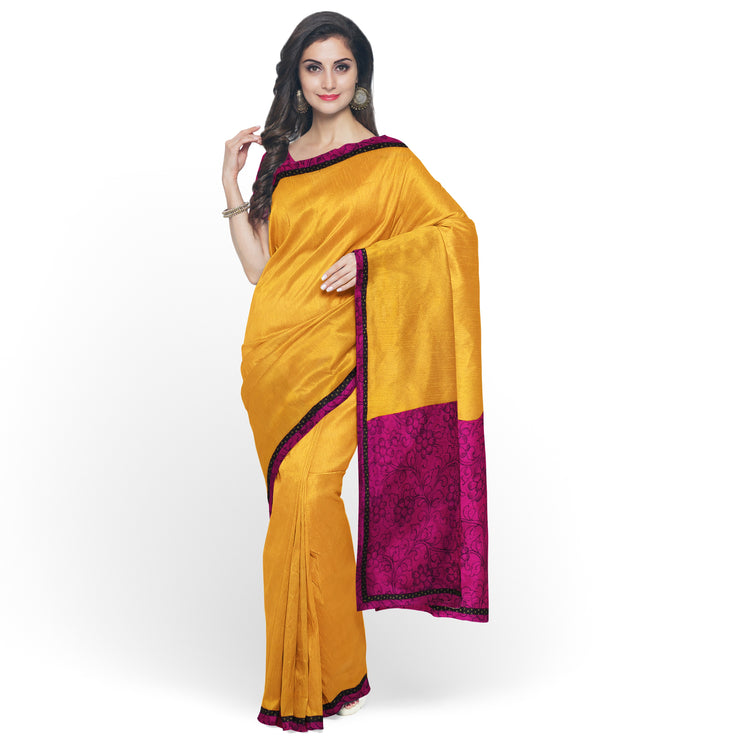 Mustard Georgette Saree With Pink Pen Kalamkari Blouse