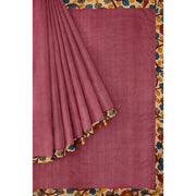 Onion Pink Tussar Saree With Sandal Pen Kalamkari Border and Blouse