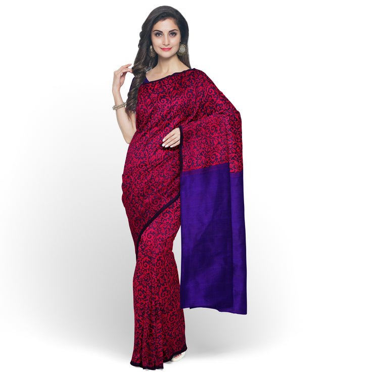 Red Printed Kanchi Silk Saree