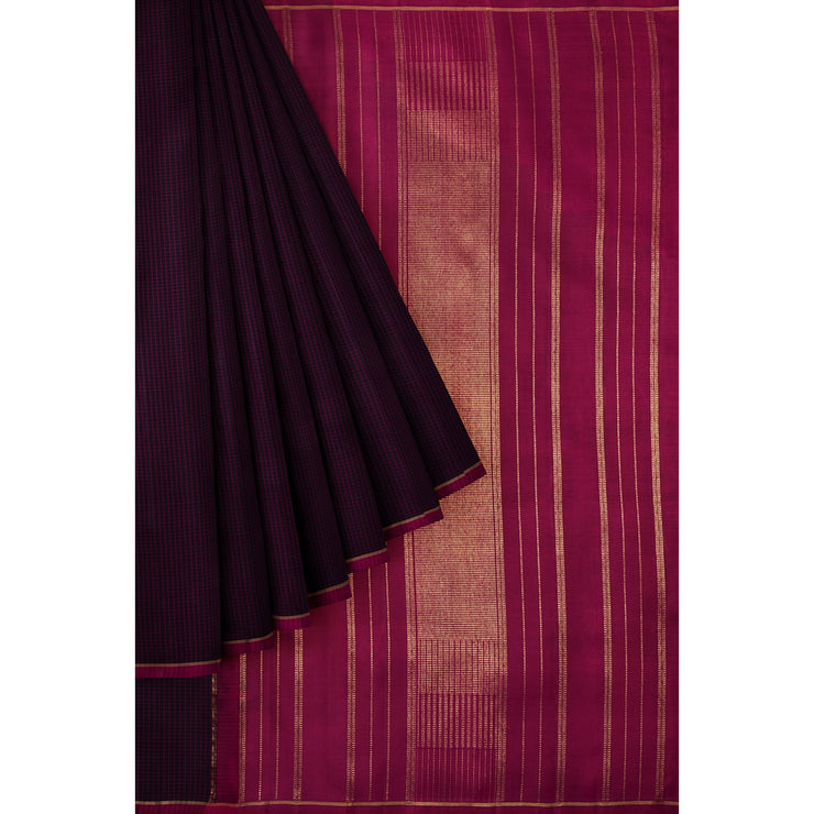 Black Checked Kanchi Silk Saree