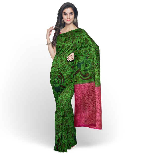 Parrot Green Pen Kalamkari Saree