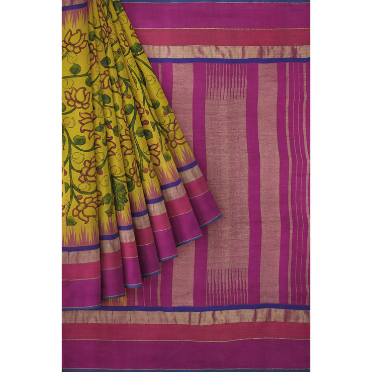 Mustard Pen Kalamkari Saree With Pink Blouse