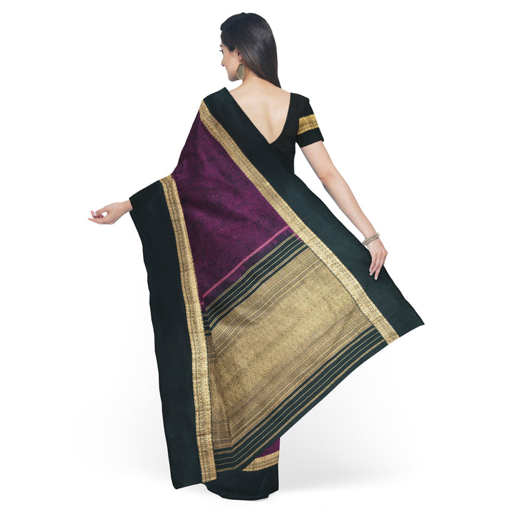 Wine Pen Kalamkari Saree With  Black Pallu And Blouse