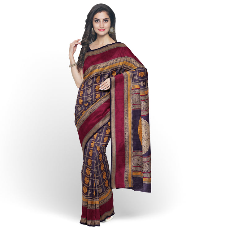 Indigo Blue Checked Kanchi Cotton Saree