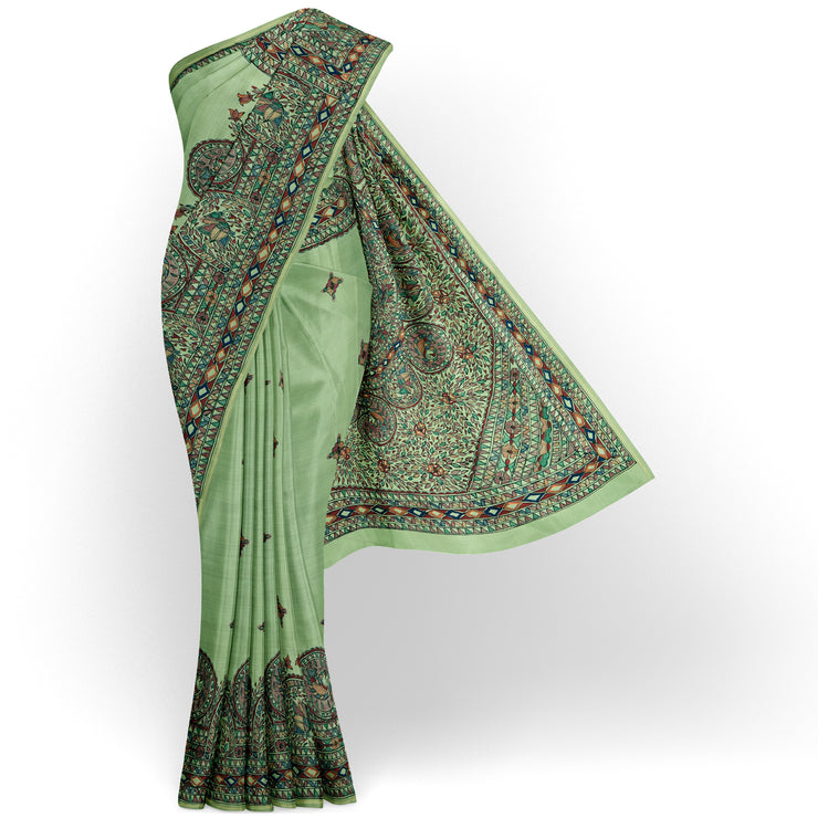 Apple Green Madhubani Hand Painted Kanchi Silk Saree