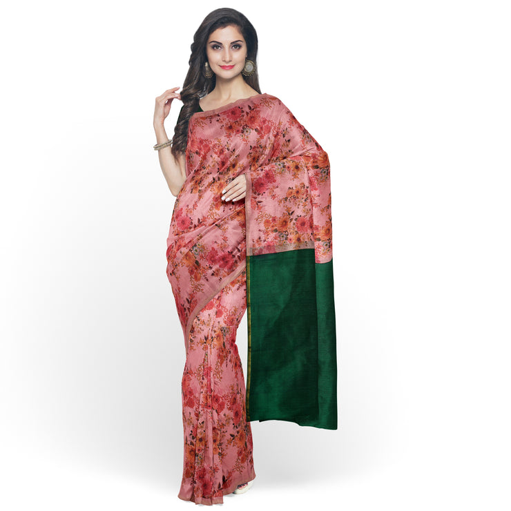 Onion Pink Printed Kanchi Silk Saree