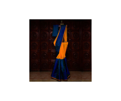 Peacock Blue Kanchi Silk And Yellow Georgette  Half And Half Saree With Blouse