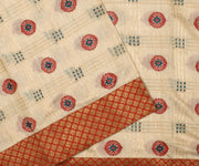 Half White Thread Zari Tussar Saree With Red Antique Banarasi Silk Border And Blouse