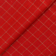 Red Zari Kattam Tussar Fabric