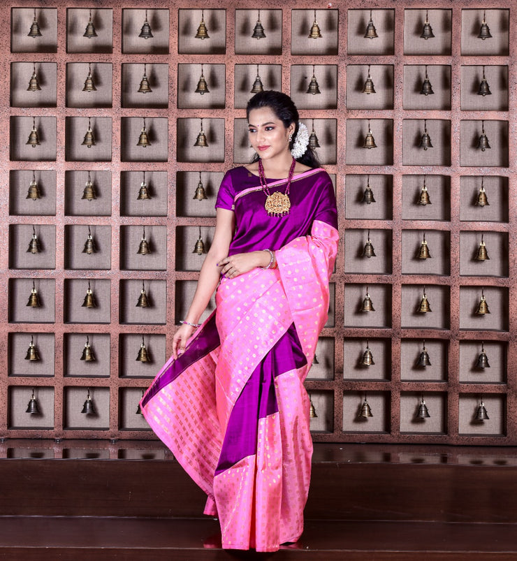 Magenta Kanchi And Pink Flower Button Kanchi Raising Silk Saree